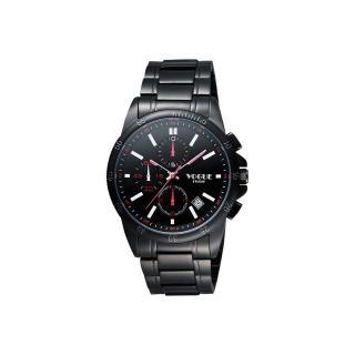 【VOGUE】嶄新系列三眼計時腕錶-IP黑x紅白時標/40mm(9V1407-251D-R)
