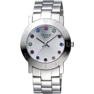 【VOGUE】繽紛彩色晶鑽腕錶-銀/36mm(2V1407-121S-S)