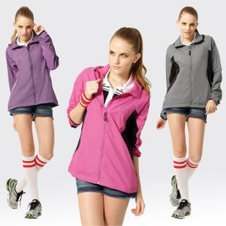【SAMLIX 山力士】女 抗UV 輕薄 休閒 風衣 外套#WJ624(紫紅.深紫.灰)