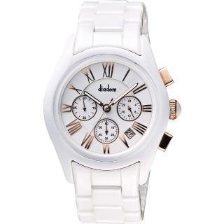 【Diadem】黛亞登羅馬三眼計時陶瓷腕錶-白x玫塊金時標/44mm(2D1407-621RG-W)