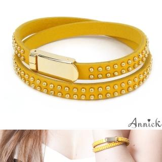 【Annick】Allison鉚釘易扣式真皮皮革雙圈手環(貴族黃)