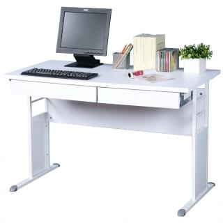 【Homelike】巧思辦公桌 亮白系列(白色加厚桌面120cm-附二抽屜)
