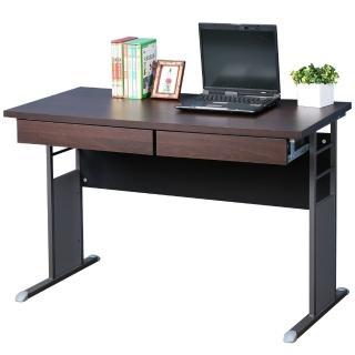 【Homelike】巧思辦公桌 炫灰系列(胡桃加厚桌面120cm-附二抽屜)