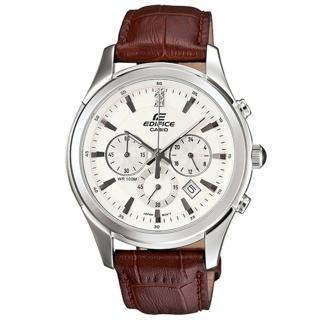【CASIO卡西歐】EDIFICE復古簡約三眼皮帶腕錶(EFR-517L-7A)