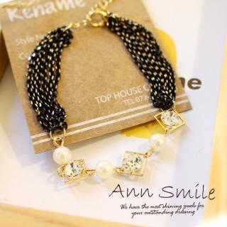 【微笑安安】韓製白珠晶鑽金黑多鍊條手鍊