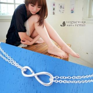 【維克維娜】愛無限。經典立體無限符號8雙鍊925純銀腳鍊