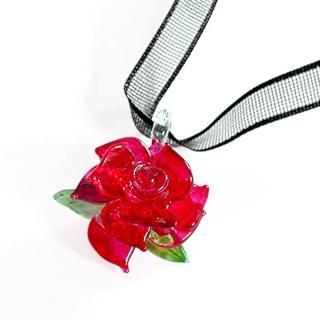 【伊飾童話】熱戀紅凡爾賽*光透玫瑰緞帶項鍊