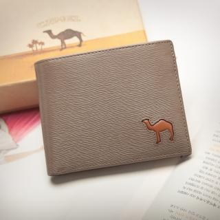 【CAMEL駱駝】西班牙經典真皮水波紋款可拆式6卡3照內拉鍊短夾(淺咖)