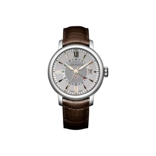 【AEROWATCH】Renaissance GMT 二地時區腕錶-銀/40mm(A44937AA10)