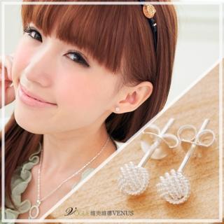 【維克維娜】毛線球。天使白。925純銀耳環