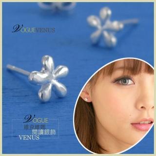 【維克維娜】花情寄語。輕巧五瓣小花貼耳 925純銀耳環