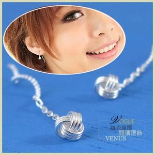 【維克維娜】迷迴凡爾賽。編織毛線球旋轉鎖鏈細鍊式925純銀耳環