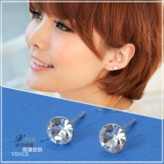 【維克維娜】糖果潮流。透明系白晶色圓鑽耳環。925純銀耳環