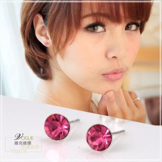 【維克維娜】糖果潮流。透明系桃紅色圓鑽耳環。925純銀耳環