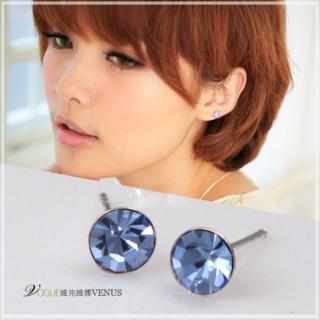 【維克維娜】糖果潮流。透明系湛藍色圓鑽耳環。925純銀耳環