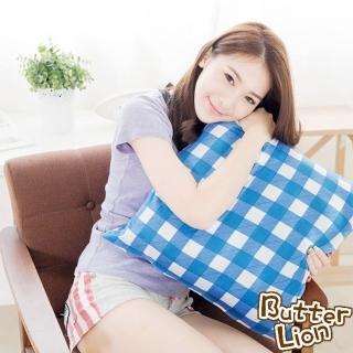 【奶油獅】格紋系列-台灣製造-100%精梳純棉方型抱枕布套(50*50CM-藍)