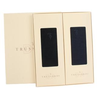 【TRUSSARDI】刺繡LOGO綿質休閒襪禮盒(二入/黑深藍)