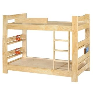 【顛覆設計】松木原木單人3.5尺雙層床(加長型)