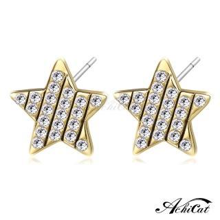 【STEVEN YANG】正白K飾「瀟灑星星」耳針式耳環 KG4072(金色)