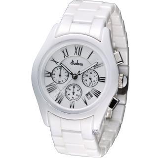 【Diadem】黛亞登 時尚紳士陶瓷計時腕錶(2D1407-621S-W)
