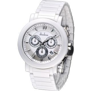 【Diadem】黛亞登 爵士雅痞陶瓷計時腕錶(8D1407-631S-W)