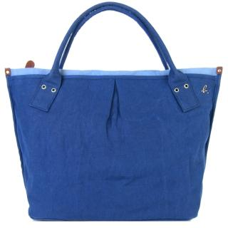 【agnes b.】麻質水餃包(大/藍)