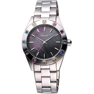 【DKNY】黑珍珠貝彩色晶鑽腕錶-黑彩貝/36mm(NY8718)