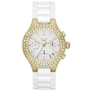 【DKNY】絕美極限陶瓷腕錶-金x白(NY2224)