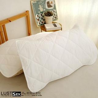 【Lust 生活寢具】《SEK棉質保潔枕套 鬆緊帶式一入》防蠻抗菌、台灣製(白色)