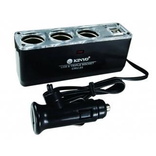 【KINYO】車用3孔+2孔USB電流3.1A輸出孔點煙器擴充座(CRU-23)
