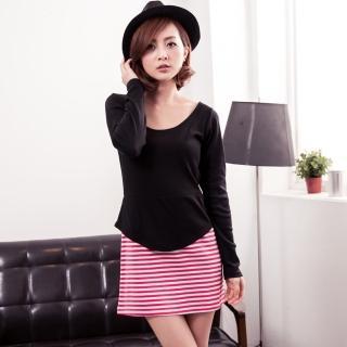 【衣心衣意】優美氣質-韓流接色假二件條紋洋裝(紅-黑SL4A1086)
