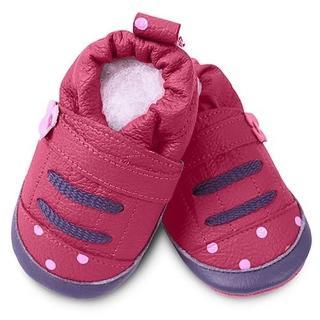 【英國 shooshoos】安全無毒真皮手工鞋/學步鞋/嬰兒鞋_桃紅點點運動型(適合爬行、搖晃學習走路寶寶穿)