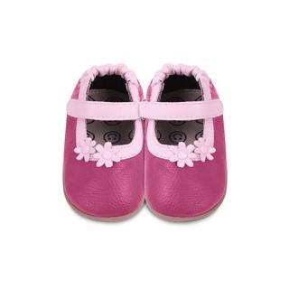 【英國 shooshoos】健康無毒真皮手工學步鞋/童鞋_桃紅兩朵小粉花童鞋(膠質鞋底/公司貨)