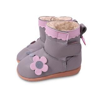 【英國 shooshoos】安全無毒健康真皮手工鞋靴子/童鞋_紫灰色淡粉小花短靴(適合走路平順、跑跳小童)