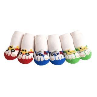 【美國 Jazzy Toes】時尚造型棉襪/止滑襪/假鞋襪_三入禮盒組_工程車組(JT3-03)