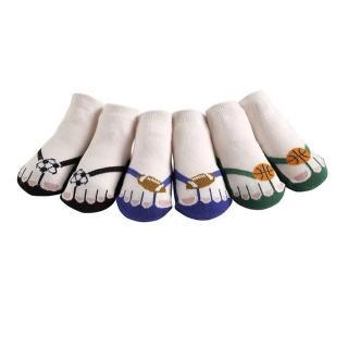 【美國 Jazzy Toes】時尚造型棉襪-止滑襪-假鞋襪_三入禮盒組_夾腳托-球類組(JT3-04)