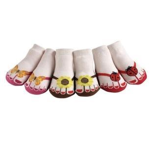 【美國 Jazzy Toes】時尚造型棉襪-止滑襪-假鞋襪_三入禮盒組_花語蝴蝶昆蟲(JT3-05)