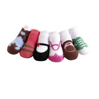 【美國 Jazzy Toes】時尚棉襪/止滑襪/假鞋襪_六入禮盒組_基本綜合組/2(JT6-17)