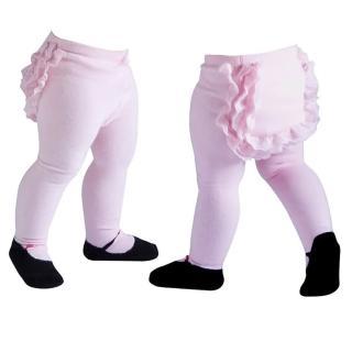 【美國 Jazzy Toes】時尚棉襪/止滑襪/假鞋襪_蕾絲內搭褲襪_淡粉(JTT-PINK)
