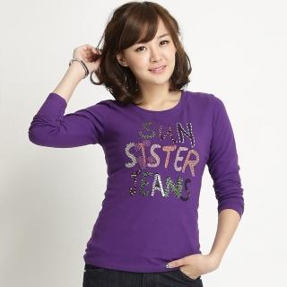 【BOBSON】女款彩鑽英文字母印圖長袖上衣(紫31075-63)