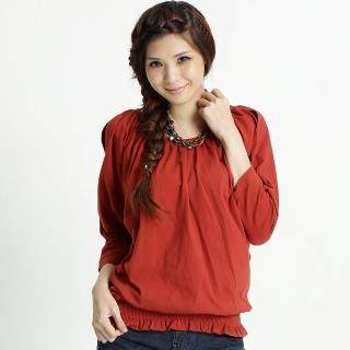 【BOBSON】女款露肩抽皺連袖上(紅31078-27)