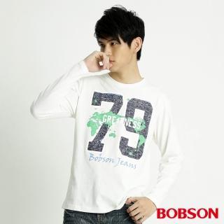 【BOBSON】男款79印圖長袖上衣(米白31010-81)