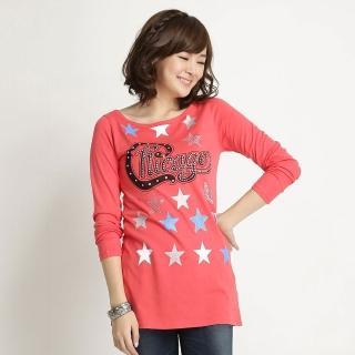 【BOBSON】女款五芒星印圖長袖上衣(桔紅31082-26)