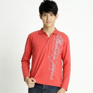 【BOBSON】男款印圖POLO長袖上衣(紅32022-26)
