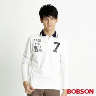 【BOBSON】男款印圖POLO長袖上衣(米白32051-81)