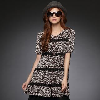 【羽生摺衣】時尚OL-豹紋排釦外套(共三色)