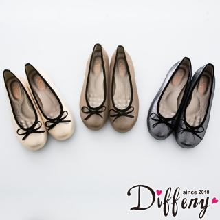 【Diffeny】人氣不敗 金蔥蝴蝶結豆豆底娃娃鞋(金 - 米 - 灰)