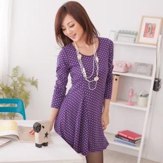 【衣心衣意中大尺碼】約會穿搭-韓流配色點點連身洋裝(黑-暗紫FL1A1038)
