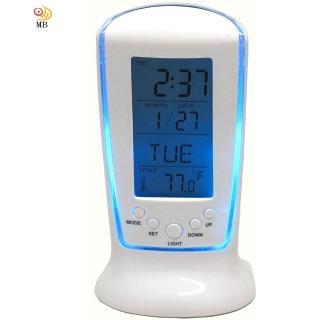【月陽】藍色冷光萬年曆溫度計倒計時多功能鬧鈴秘書(510)