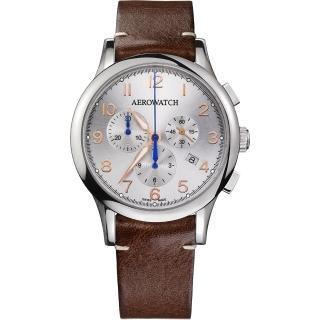 【AEROWATCH】Grace優雅風範三眼計時腕錶-銀x咖啡/42mm(A83966AA03)